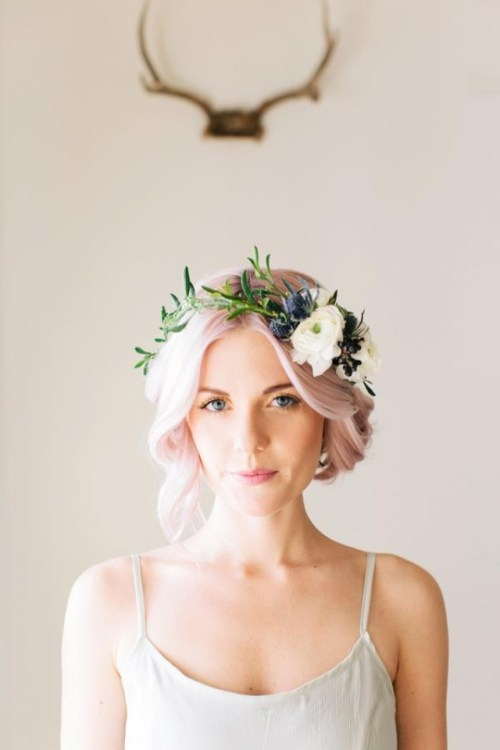 Flower Crown DIY Blue Thistles Mounted Antlers Woman with Pink Hair Wedding Flowers in Her Hair