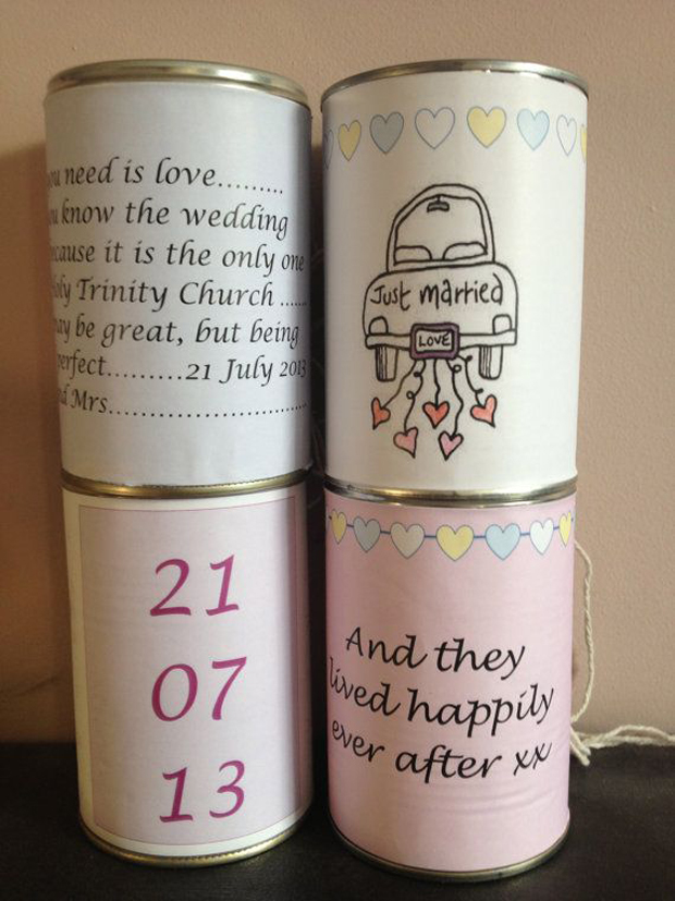 wedding car tin cans for wedding