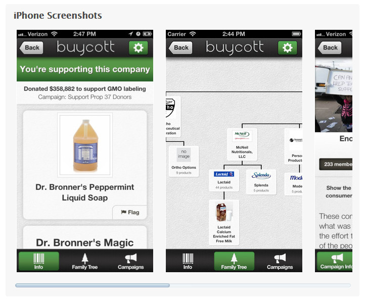 BUYCOTT app screenshot