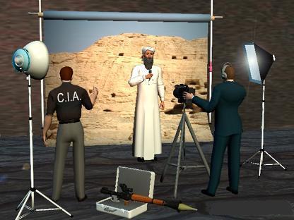 Een cartoon, gefotoshopped natuurlijk, over de mogelijke manier waarop de CIA het 'een en ander' orchestreert.