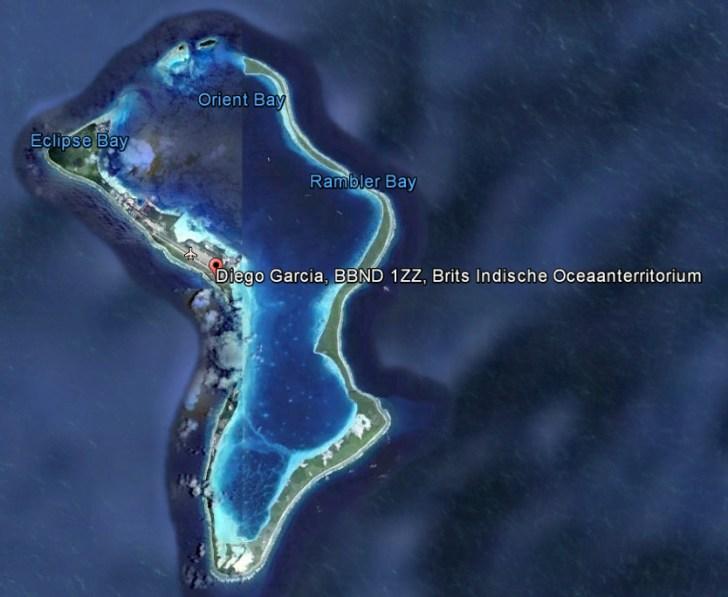 Satellietfoto van Diego Garcia