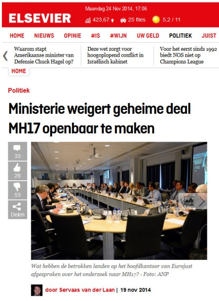 Elsevier afwijzing WOB MH17