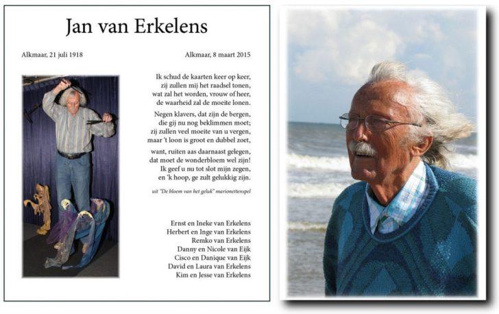 Jan van Erkelens memorial rouwkaart