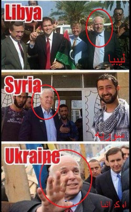 Het 'goede werk' van John McCain, achter al die fijne 'volksopstanden', lijkt uiterst waardevol. Voor de VS dan. En uiterst opzichtig...