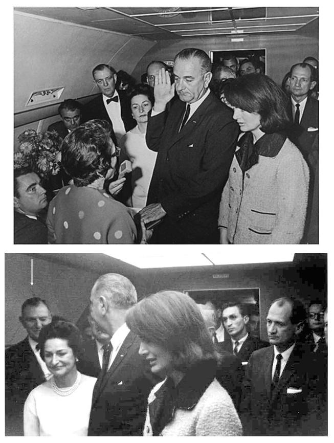 De alleszeggende knipoog van volksvertegenwoordiger Albert Thomas naar de nieuw president Lindon Johnson, vlak na de beëdiging in het vliegtuig, ná de moord op Kennedy, spreekt boekdelen: 'We did it!' De staatsgreep is gelukt! De VS zouden nooit meer zijn wat ze waren. Weduwe Jacky Kennedy, op de voorgrond, weet dat het spel is gespeeld. Deze knipoog spreekt boekdelen. Klik op de illustratie voor een artikel over de pogingen van John Kennedy om de FED buitenspel te zetten..!