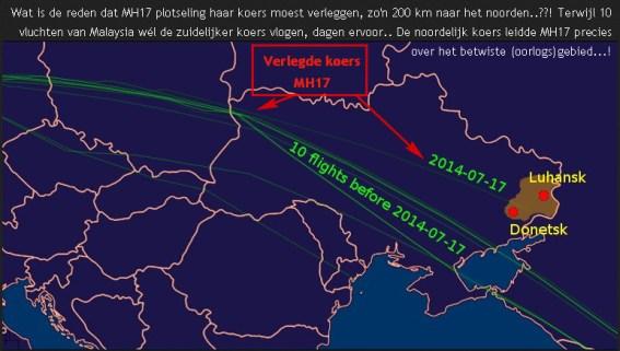 MH17 verlegde koers