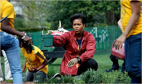 19 maart 2009: Michelle Obama laat een grote groenten-tuin aanleggen achter het Witte Huis met genoeg biologische groenten voor het hele personeel! September 2009: Michelle Obama (rode overhemd) in de tuin van het Witte Huis met schoolkinderen. Is het naïviteit of een bewuste cover-up.. PR-verhaaltjes voor het slapen gaan.. Hoe valt haar gedrag anders met dat van haar echtgenoot te rijmen.. 'Yes, we can'..??
