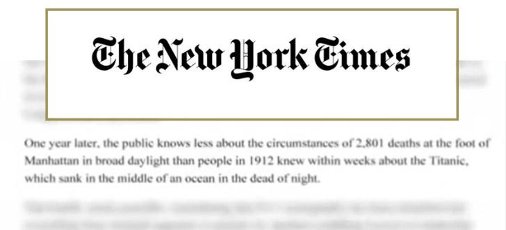 New York Times 911 Titanic quote