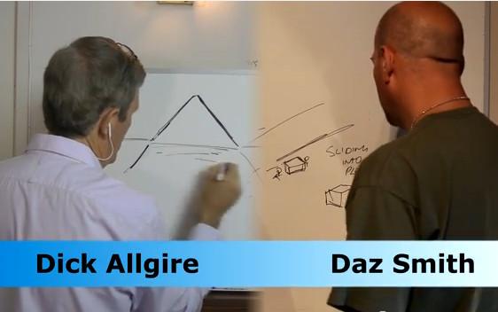 De Remote Viewers, zoals hier Dick Allgire en Daz Smith (r), werkten onafhankelijk van elkaar en rond 1 uur voor elke sessie, en dat ruim 1 jaar lang.. Daarbij kwam uit elke sessie een professioneel 20-pagina verslag over wat ze hadden gezien en beleefd..!