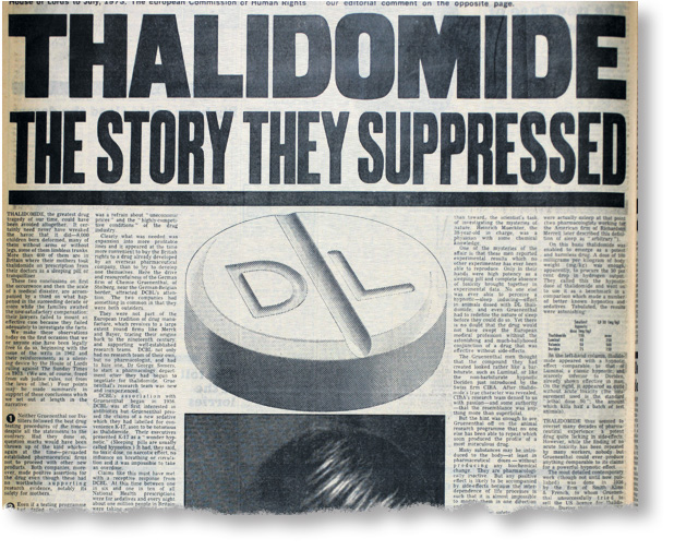 Front page from The Sunday Times dated 27.06.1976 for story on Thalidomide. Headline: Thalidomide The Story They Suppresed.