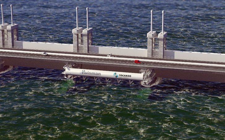 Op deze manier worden de getijde-turbines aan de Oosterschelde-stormkering gehangen.