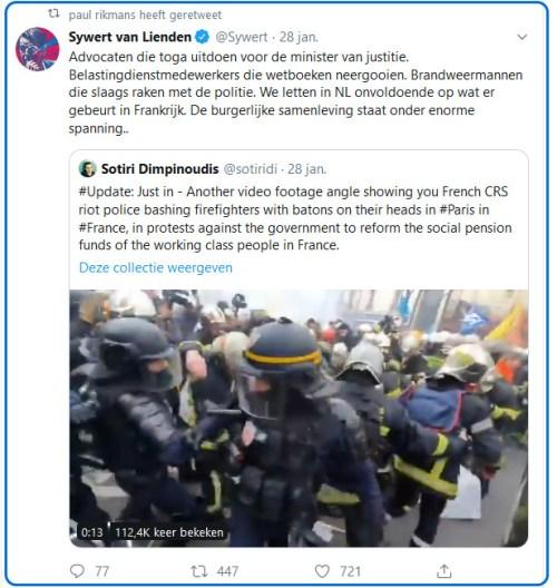 Protesterende Franse brandweer krijgt politieklappen..!
