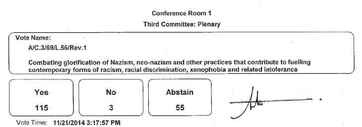 UN resolutie afwijzing fascisme 21 11 14