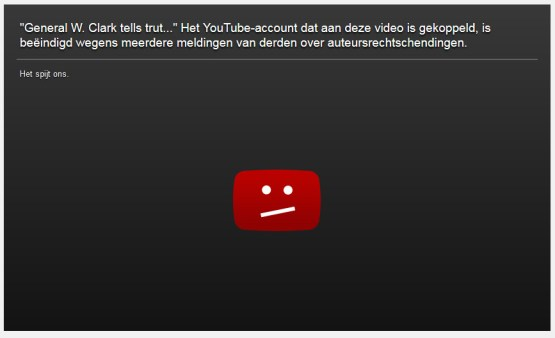 YouTube verwijderd wesley clark