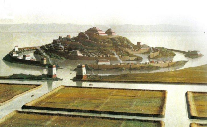 Een artistieke impressie gebaseerd op beelden van Atlantis.