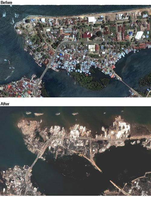 Banda Aceh, een plaatje van vóór en ná de verwoestende aardbeving van 26 december 2004. De band tussen moeder Aarde en haar levende wezens is duidelijk..