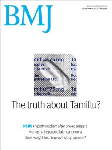 De cover van de British Medical Journal (BMJ): ook zij begrijpen de essentie van berichten rondom Tamiflu!!