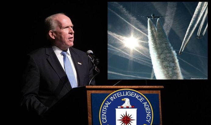 Directeur John O'Brennan kiest de geraffineerde vlucht naar voren, door chemtrails niet meer te ontkennen, maar toe te geven dat onze hemel volgespoten wordt met chemicaliën, onder het motto van..... 'Weerbeïnvloeding'