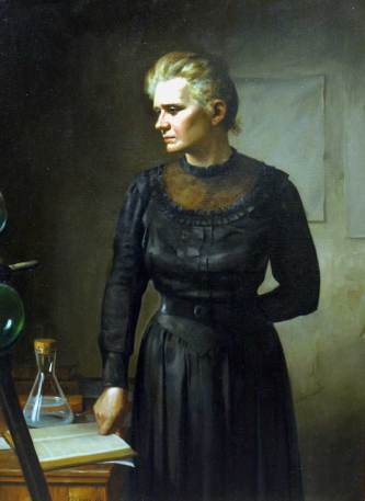 Marie Curie, nobelprijswinnaar. Stierf aan haar eigen ontdekking in 1934. Leukemie door radio-activiteit.
