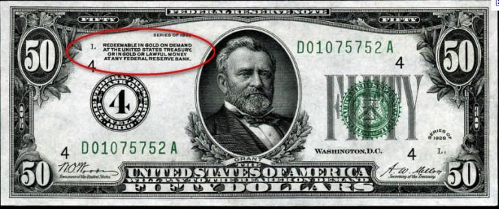 Feitelijk zou nu op deze plek moeten staan, dat de (deze) dollar gebaseerd is op lucht.. Maar ja.. Dat is niet zo heel bevorderlijk voor het vertrouwen in dat papiertje..