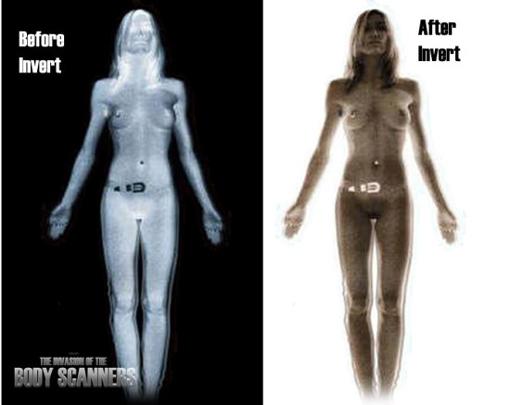 Een full-body-scanner is ook in staat beelden te leveren die 'invert' zijn. Bijvoorbeeld dit resultaat (rechts) opleveren..?