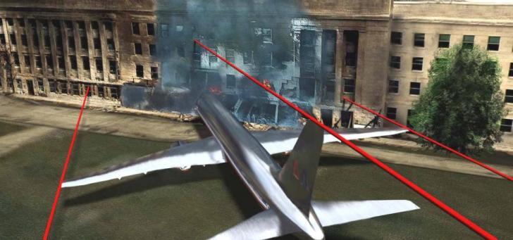 Een van de meest tot de verbeelding sprekende reconstructie-afbeeldingen: de ware verhoudingen van vliegtuig en Pentagon. Waar is het vliegtuig, American Airlines vlucht #77 gebleven?