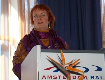 Marieke de Vrij tijdens een van haar presentaties.