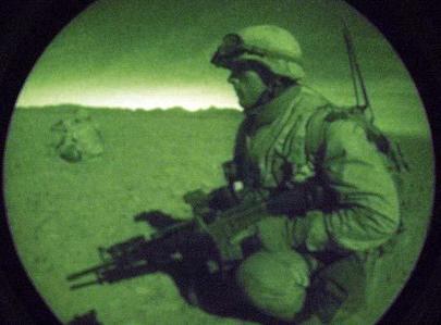 Een van de 'stoere foto's' die het Amerikaanse leger als publiciteitsplaatje gebruikt.