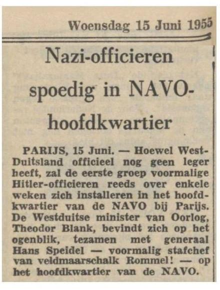 En niet alleen in Europees politiek verband komen ex-Nazi's aan het bewind. Wat te denken van dit bericht..