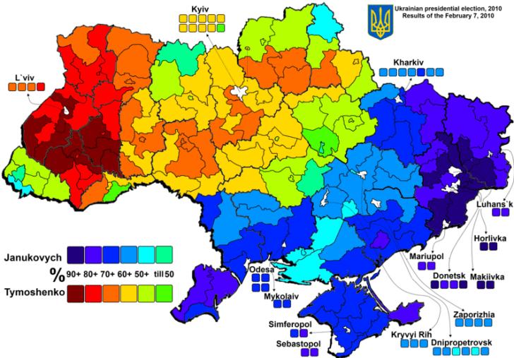 De verkiezingen uit 2010, toen alles nog redelijk rustig was in Oekraïne, geven de werkelijke stemming aan in het land. Het donkerblauwe deel van het land is feitelijk Russisch-georienteerd. Dit is de werkelijk prooi voor de VS-NAVO-EU-elite..!