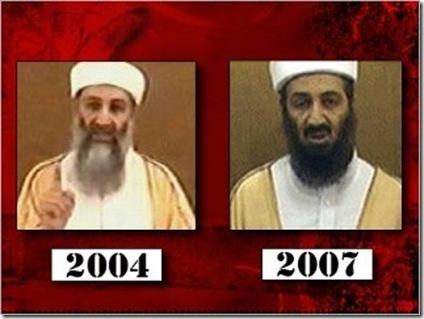 De steeds maar jonger wordende figuur (of zijn het 2 verschillende?) die Osama Bin Laden moet voorstellen.. Oorlogspropaganda van het zuiverste water, zo lijkt het.