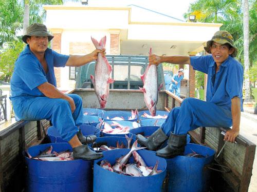 Twee medewerkers van de Panga-verwerkingsfabriek met een deel van 'de vangst'..