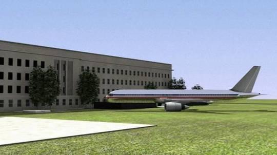 De officiële verhoudingen van vlucht AA77 en het Pentagon. Dit is ook exact de vlieghoek waaronder het vliegtuig in het gebouw gekomen zou zijn.. Gevlogen door een sportvliegtuigpiloot..