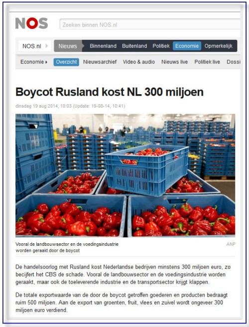 schade boycott Rusland