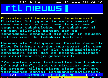 schippers tabaknee teletext RTL