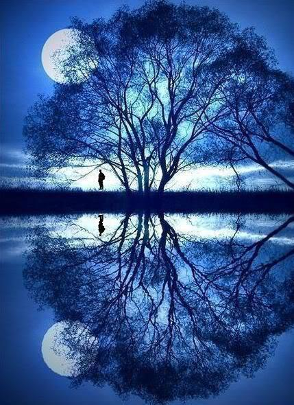 spiegelbeeld maan mens aarde kosmos