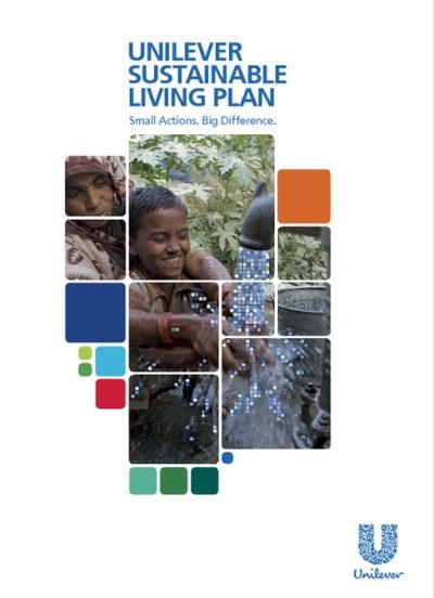 D ehypocriete houding van Unilever in beeld. De cover van haar 'duurzame jaarverslag'.. Kijk naar de titel van het jaarrapport: