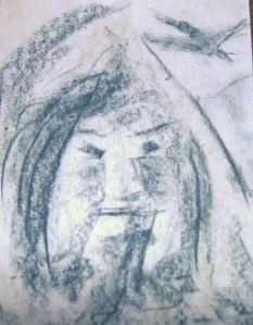 Dit is die tekening van een berg waarin een gezicht verscheen