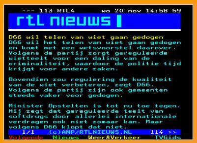teletekst RTL wiet telen