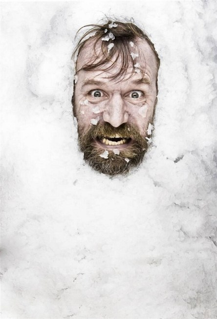 Wim Hof, 'the Iceman' on the rocks..