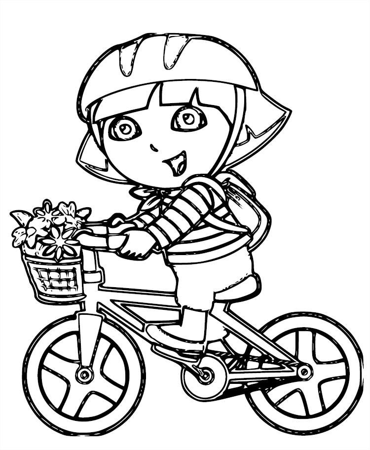 Coloriage de Dora l'exploratrice sur un vélo à imprimer
