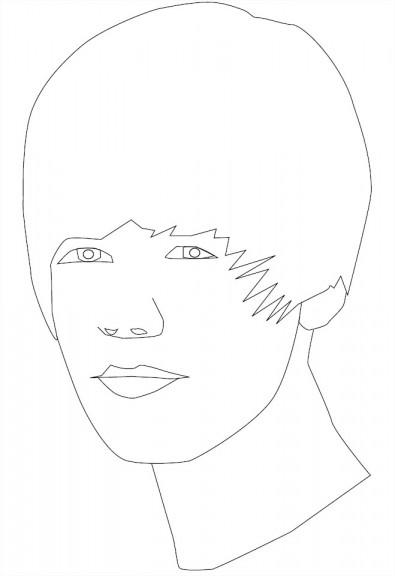 Justin Bieber : Coloriage de star Justin Bieber à imprimer