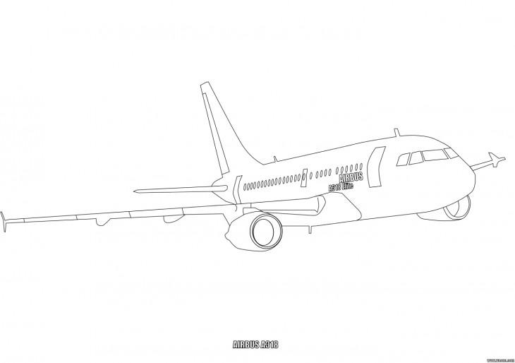 Coloriage Airbus A318 gratuit à imprimer et colorier