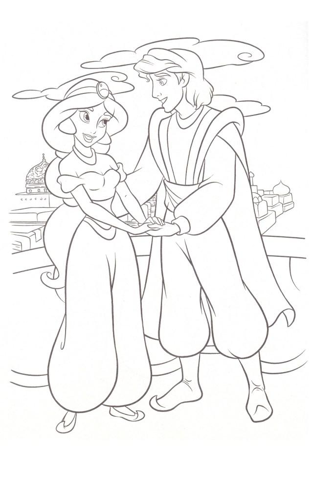 Coloriage Jasmine et Aladdin à imprimer