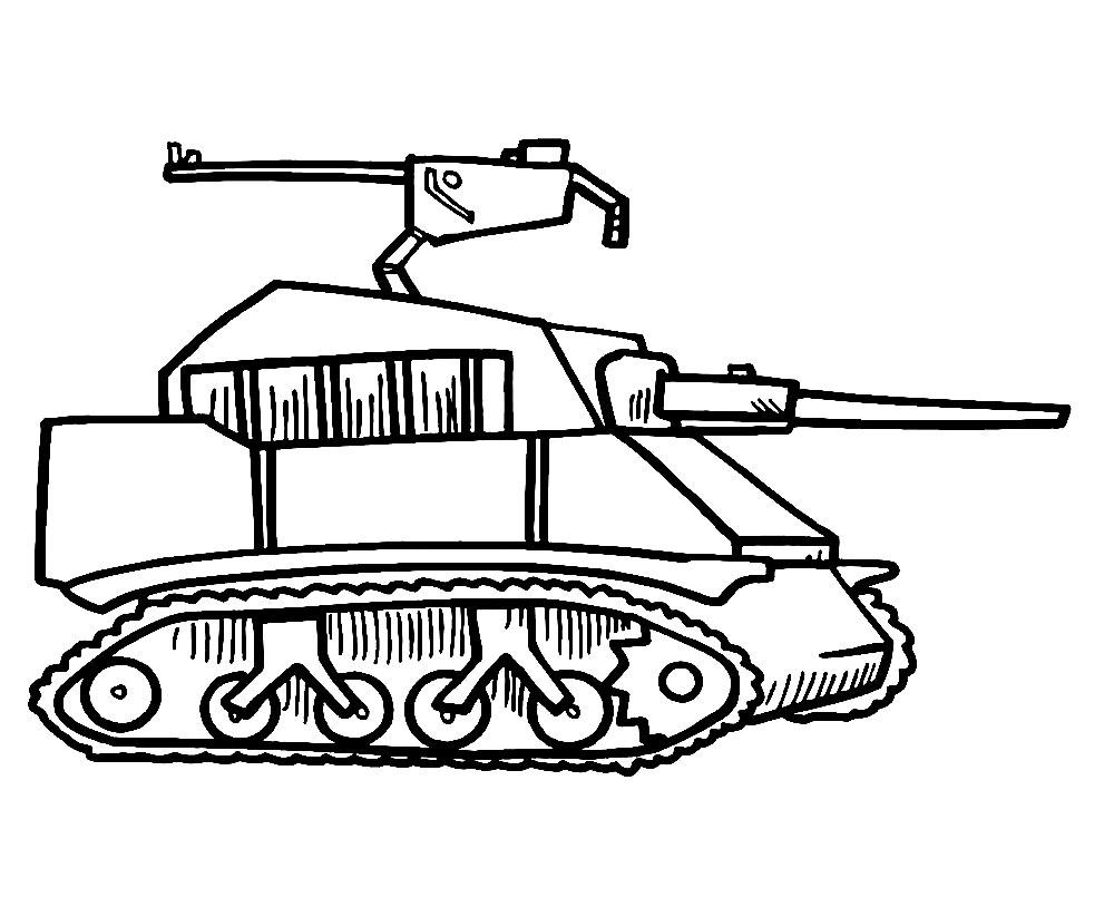 Coloriage Tank militaire à imprimer et à colorier