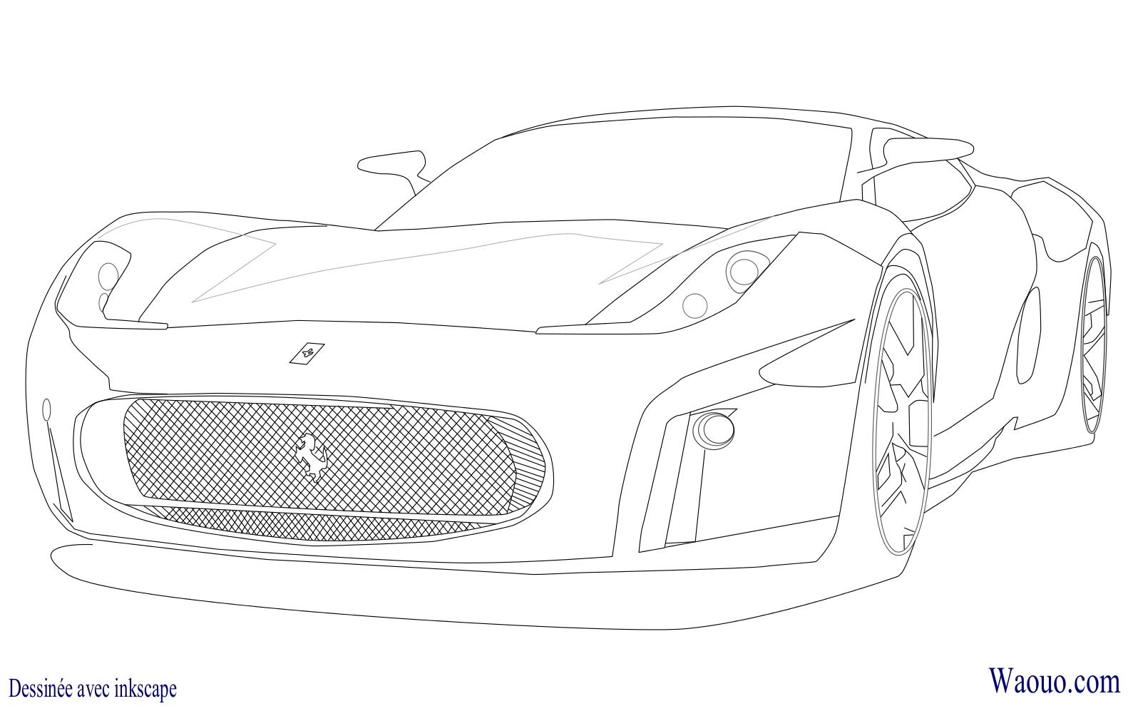 Coloriage Voiture De Sport Bugatti Veyron A Imprimer Et