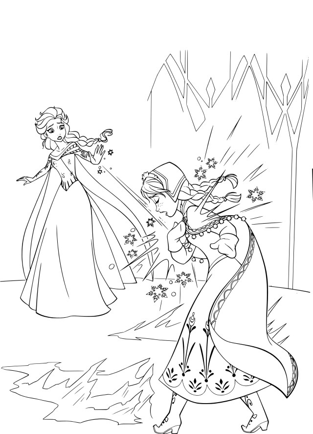 Coloriage princesses Disney Elsa et Anna à imprimer