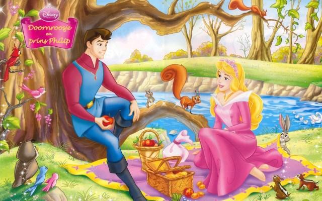 Coloriage princesse Aurore et prince Philippe à imprimer