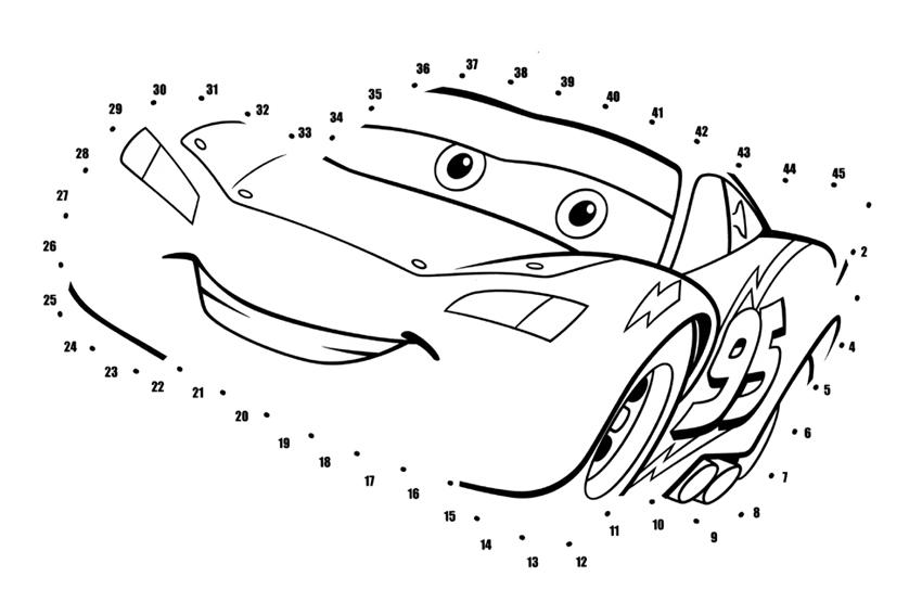 Point à relier Cars Disney à imprimer