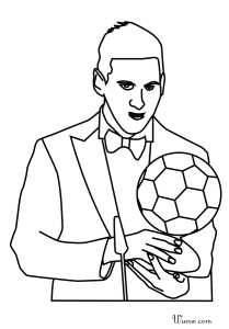 Coloriage Lionel Messi Ballon Dor A Imprimer
